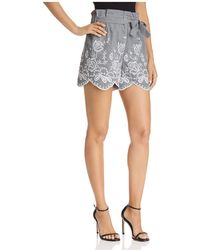 Aqua - Embroidered Gingham Paper-bag Shorts - Lyst