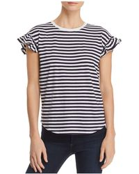 Kate Spade - Striped Ruffle-trimmed Tee - Lyst