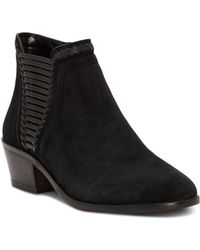 8c012c2e0fd8 Vince Camuto - Women s Pippsy Almond Toe Suede Low-heel Booties - Lyst