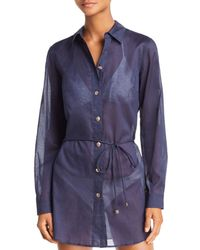 553d246e6e6 Lyst - Tory Burch Denim Brigitte Contrast Panel Shirt Dress L in Blue