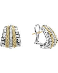 Lagos - 18k Gold And Sterling Silver Diamond Lux Graduated Huggie Hoop Earrings - Lyst