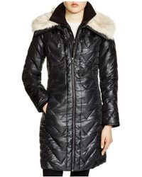 Via Spiga - Faux Faux Fur Trim Chevron Puffer Coat - Lyst