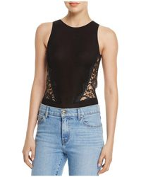 Olivaceous - Open-back Lace Inset Bodysuit - Lyst