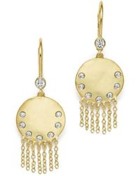 Meira T - 14k Yellow Gold Disc And Fringe Earrings With Diamonds - Lyst
