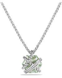 David Yurman - Petite Cable Wrap Necklace With Prasiolite And Diamonds - Lyst