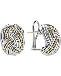 Lagos - 18k Gold & Sterling Silver Torsade Huggie Hoop Earrings - Lyst