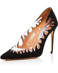 Brian Atwood - Women's Victory Suede Cutout Pointed Toe Pumps - Lyst