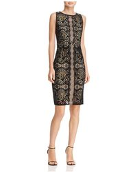 Adrianna Papell - Flocked Lace Sheath Dress - Lyst