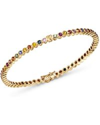 14k Yellow Gold Multicolor Sapphire Infinity Bangle Bracelet