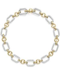 Bloomingdale's - Diamond Link Bracelet In 14k Yellow And White Gold, 1.0 Ct. T.w. - Lyst