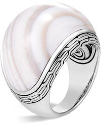 John Hardy - Sterling Silver Classic Chain Domed White Agate Ring - Lyst