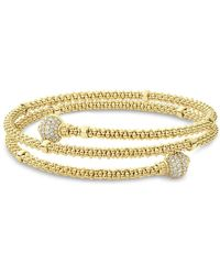 Lagos - 18k Yellow Gold Caviar Pave Diamond End Cap Coil Bracelet - Lyst