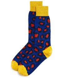 Bloomingdale's - Color - Block Leopard Socks - Lyst