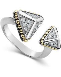 Lagos - 18k Yellow Gold & Sterling Silver Ksl Luxe Diamond Asymmetrical Pyramid Cuff Ring - Lyst