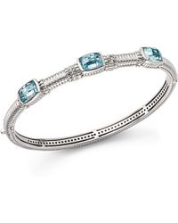 Judith Ripka | Triple Stone Bangle With White Sapphire And Sky Blue Crystal | Lyst
