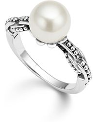Lagos - Sterling Silver Luna Cultured Freshwater Pearl Link Ring - Lyst