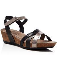 Munro - Eden Metallic Strappy Wedge Sandals - Lyst