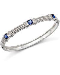 Judith Ripka - Sterling Silver Three Cushion Stone Bangle With Blue Corundum - Lyst