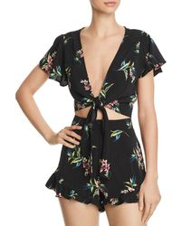 Blu Pepper - Floral Print Tie-front Cropped Top - Lyst
