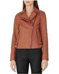 Reiss - Sadie Leather Biker Jacket - Lyst