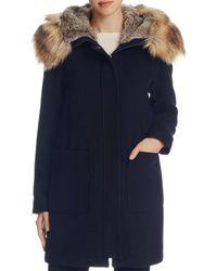 Vince Camuto - Zip Front Faux Fur Hood Coat - Lyst