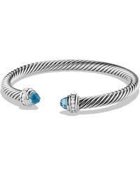 David Yurman - Cable Classics Bracelet With Blue Topaz And Diamonds - Lyst