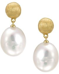 "Marco Bicego - ""africa Pearl Collection"" 18k Yellow Gold And Pearl Drop Earrings - Lyst"