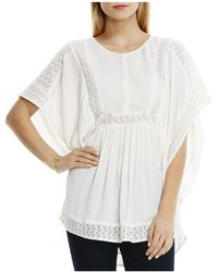 Two By Vince Camuto - Lace Inset Crinkle Gauze Blouse - Lyst