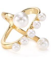 Rebecca Minkoff - Simulated Pearl X Ring - Lyst