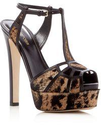 Sergio Rossi | Puzzle Calf Hair T-strap High Heel Platform Sandals | Lyst