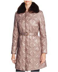 Via Spiga - Faux Fur-trim Quilted Coat - Lyst