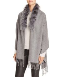 Surell - Shawl With Fox Fur Trim - Lyst