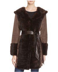 Maximilian - Leather Belt Mink Fur Trim Down Coat - Lyst