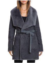 Bagatelle - .city Reversible Merino Shearling Wrap Coat - Lyst