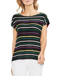 Vince Camuto - Petites Paradise Stripe Mixed Media Top - Lyst