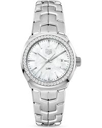 Tag Heuer Link Mother - Of - Pearl And Diamond Bezel Watch