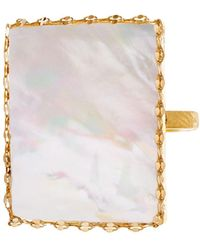 Lana Jewelry - 14k Yellow Gold Costa Blanca Mother-of-pearl Ring - Lyst