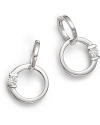 Roberto Coin - 18k White Gold Circle Earrings With Diamonds - Lyst