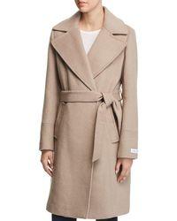 Calvin Klein - Notched Collar Wrap Coat - Lyst