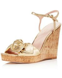 Kate Spade - Women's Janae Metallic Leather Platform Wedge Sandals - Lyst