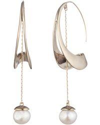 Carolee - Sculptural Cultured Freshwater Pearl Hoop Drop Earrings - Lyst