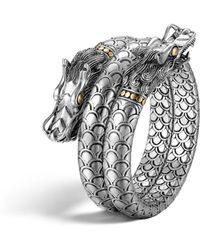 John Hardy - Sterling Silver And 18k Bonded Gold Naga Dragon Head Double Coil Bracelet - Lyst