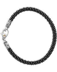 Lagos - Black Caviar Ceramic Sterling Silver And 18k Gold Bracelet - Lyst