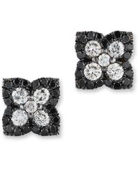 Bloomingdale's - Black And White Diamond Clover Stud Earrings In 14k White Gold - Lyst