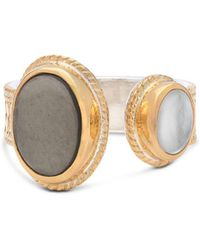 Anna Beck - Mother Of Pearl & Smoky Pyrite Cocktail Ring In 18k Gold-plated Sterling Silver - Lyst