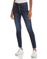 Aqua - Button Fly Skinny Jeans In Dark Wash - Lyst