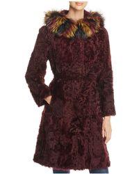 Maximilian | Fox Fur Hood Kalgan Lamb Fur Coat | Lyst