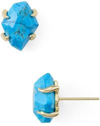 Kendra Scott - Inaiyah Gold Stud Earrings In Aqua Howlite - Lyst