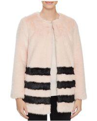Love Token - Contrast Striped Faux Fur Coat - Lyst