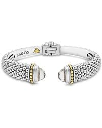 Lagos - 18k Gold And Sterling Silver Caviar Color White Topaz Cuff - Lyst